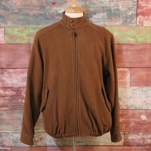 ORVIS Brown Full Zip Jacket Leather Buttons Size M